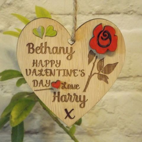 Personalised Valentine's Day Love Heart with Red Rose, Valentine's Day Gift